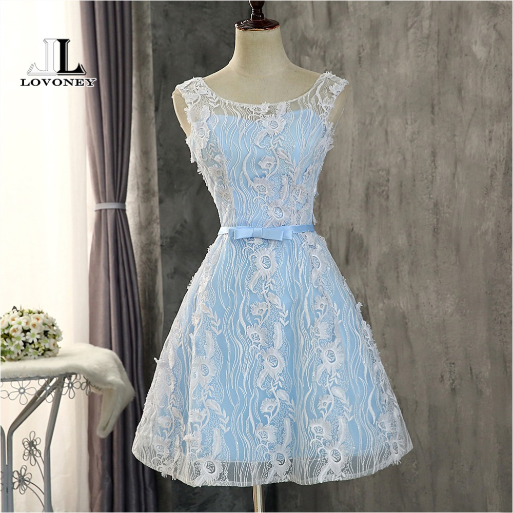 LOVONEY CH614 A Line Lace Short   Prom     Dresses   with Bow Formal   Dress   Woman Occasion Party   Dresses     Prom   Gowns Robe De Soiree