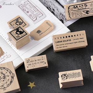 Image 4 - XINAHER בציר קוסמי נסיעות ירח תווית חותמת DIY עץ גומי בולים רעיונות מכתבים רעיונות בול רגיל