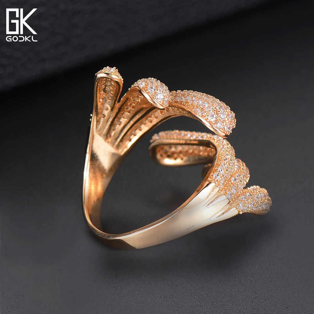 GODKI Luxury Angel Wing เรขาคณิต Cubic Zirconia แหวนสำหรับหมั้นแต่งงานอาบูจาเจ้าสาวแหวนนิ้วมือเครื่องประดับ Addiction