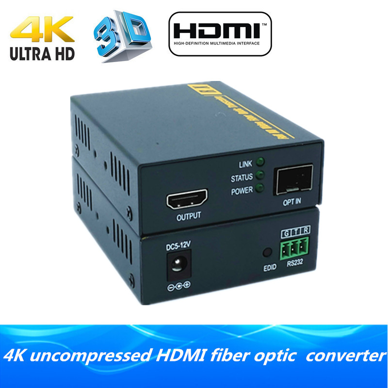 4K HDMI fiber optic extender 2km via fiber 3D HDMI1.4v fiber optical audio converter with RS232 TX/RX video transmitter receiver