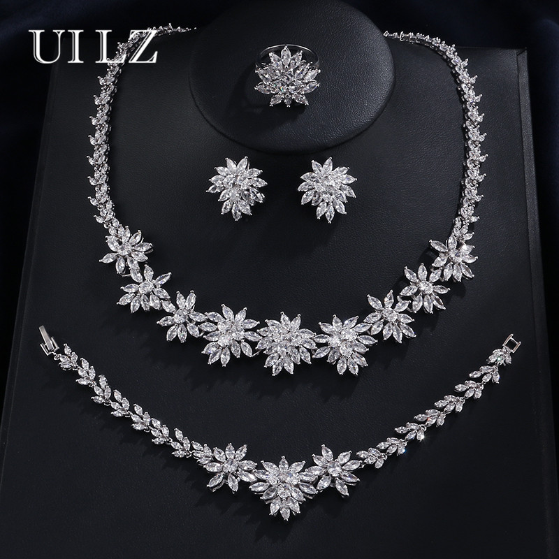 UILZ Luxury Flower Shape Clear Cubic Zircon Necklace/ Earrings/ Bracelet/ Ring Jewelry Set For Women Wedding US225 jtc головка торцевая torx 1 4 х e6 jtc 22006