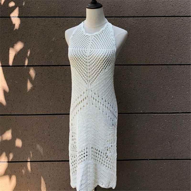 Vestido de verão de malha sexy boho vestido de praia branco n464 sundress ver através sem mangas franjas elástico crochê em linha reta mini vestido