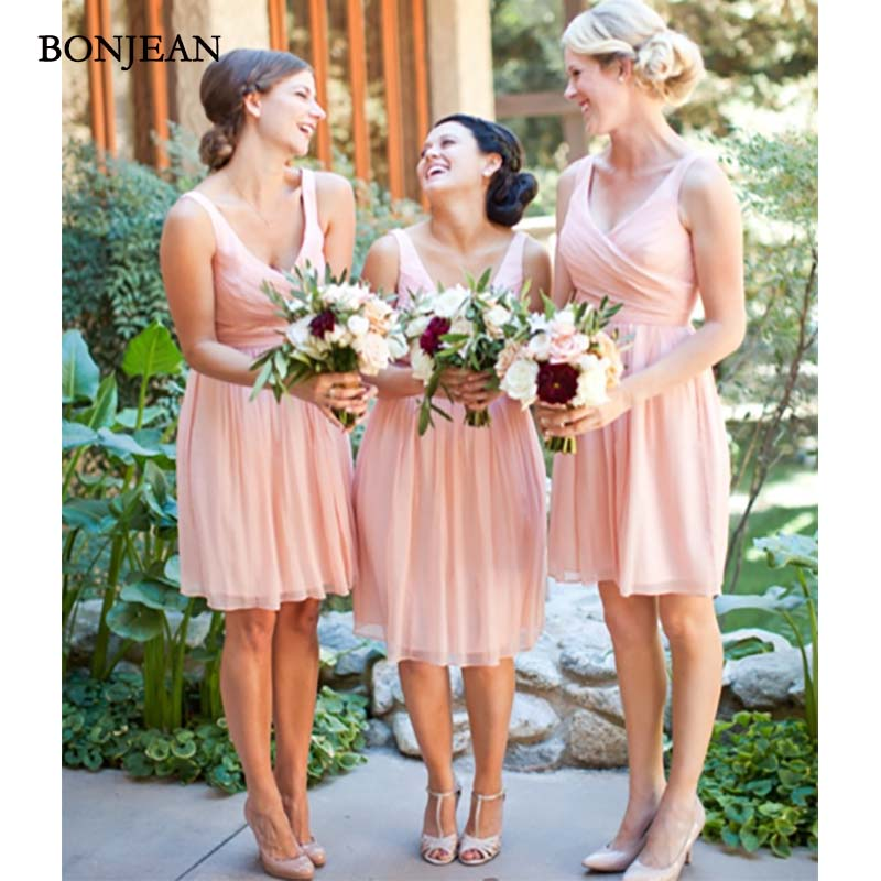 Elegant Pink A-Line Chiffon   Bridesmaid     Dresses   Cheap short Sleeveless V-Neck Wedding Party Gown   Bridesmaid   Dresse