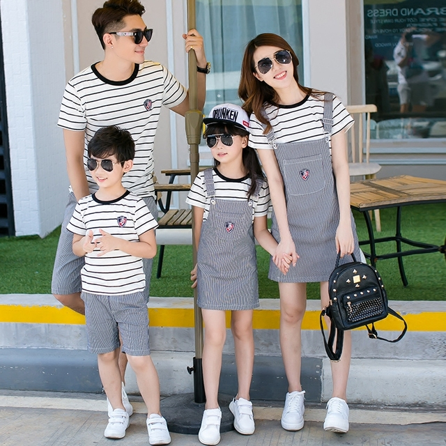 Family Matching Outfits Striped  2017 Fashion 2pcs Sets of Denim Overalls and Jeans Dress