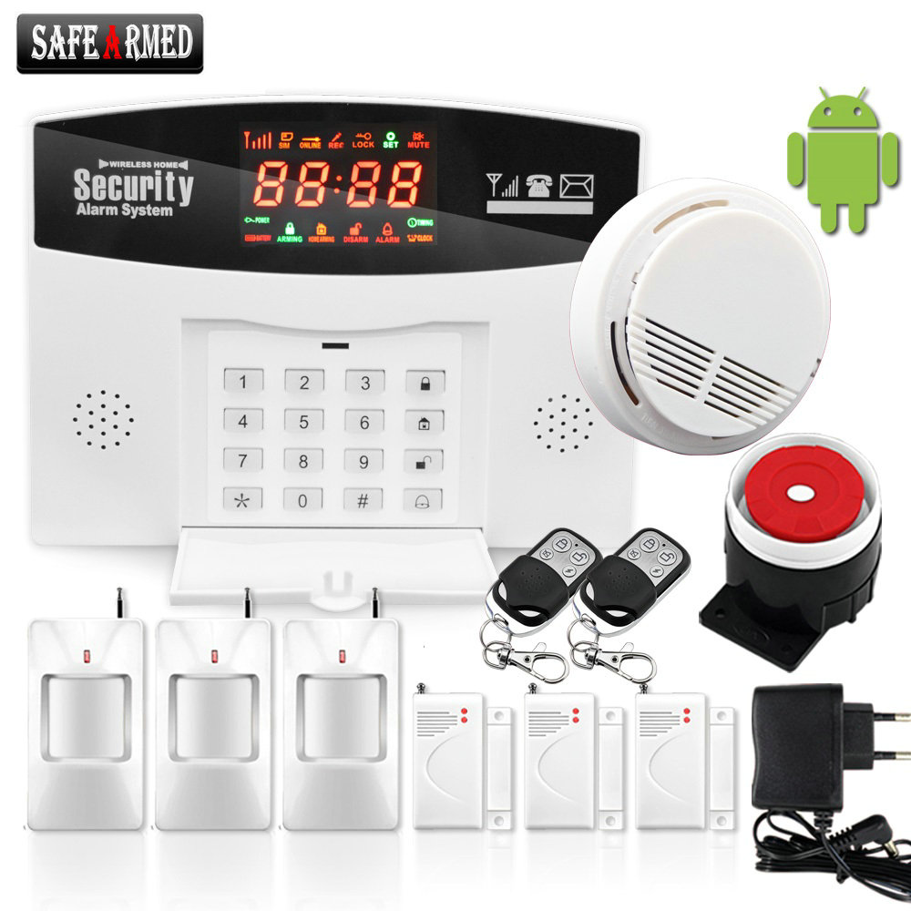 (1set)Safe Armed Hot Selling GSM Alarm System Wired/Wireless 433MHz, Russian / English Voice Prompt, Built-in Relay Support wireless service call bell system popular in restaurant ce passed 433 92mhz full equipment watch pager 1 watch 7 call button