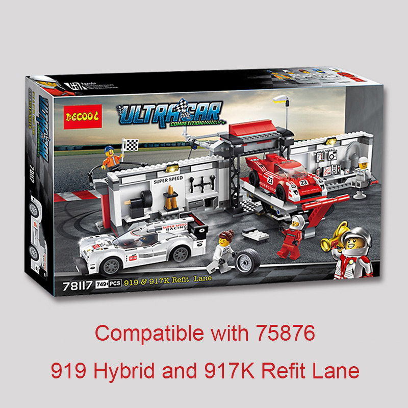 Super Racers Series Speed Champions 919 Hybrid And 917K Refit Lane 75876 Building Blocks Brick Toys For Children Hobbies Lepin breakfast for champions