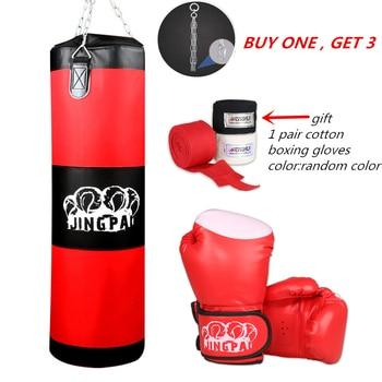 боксерская груша с перчатками | 100 см тренировочный боксерский мешок для фитнеса, ММА, боксерский мешок с крючками, подвесной мешок, пробивной мешок, мешок с песком (Пустой) ...