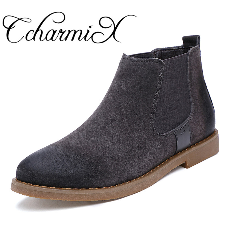 CcharmiX Chelsea Boots Men Cow Suede Autumn Winter Fashion Chelsea Boot Men's Rubber Boots Male Luxury Brand Leather Ankle Boots цена 2017