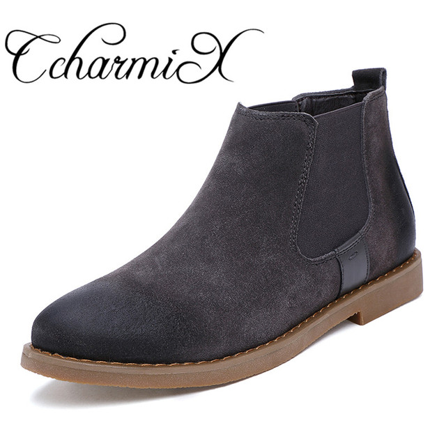 37b1a8c44f9 US $29.01 43% OFF|CcharmiX Chelsea Boots Men Cow Suede Autumn Winter  Fashion Chelsea Boot Men's Rubber Boots Male Luxury Brand Leather Ankle  Boots-in ...