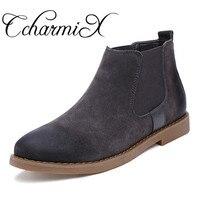 CcharmiX Chelsea Boots Men Cow Suede Autumn Winter Fashion Chelsea Boot Men's Rubber Boots Male Luxury Brand Leather Ankle Boots
