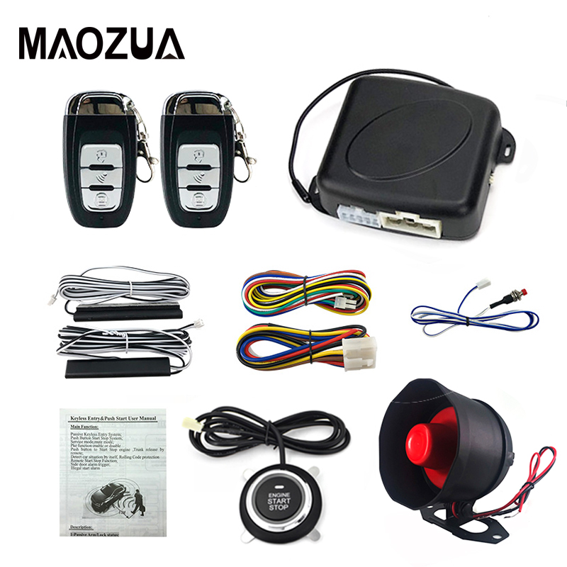 Maozua voiture alarme bouton poussoir démarrage arrêt avec PKE passif sans clé entrée voitures à distance moteur démarrage arrêt automobile DC12V