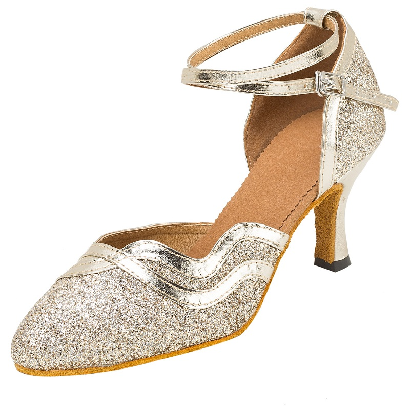 Modern Women s Dance Shos Customized Heels Sequined Glitter Latin Ballroom  Tango Salsa Suede Dancing Shoes Black Silver Gold-in Dance shoes from  Sports ... 949a8da60d9a