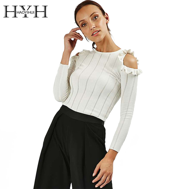 HYH HAOYIHUI Women Sweater Autumn Solid White Frill Cold Shoulder Female Sweater Long Sleeve Crew Neck Streetwear Sweater