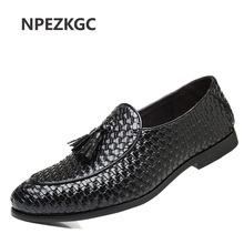 NPEZKGC Brand Men Shoes 2018 New Breathable Comfortable Men Loafers Luxury Tassel Weave Men's Flats Men Casual Shoes Big Size 48