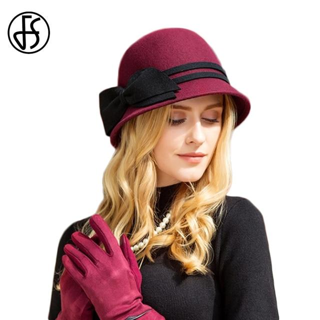 b34069aa114 FS Winter Autumn Wine Red 100% Wool Felt Hat Women Wide Brim Fedora Cloche  Bowler Ladies Church Hats Bowknot Chapeau Vintage