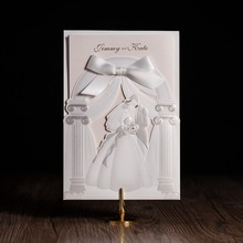 Customize Church Palace Design Laser Cut Wedding Invitations With Elegant Bride and Groom Marriage invites Cards