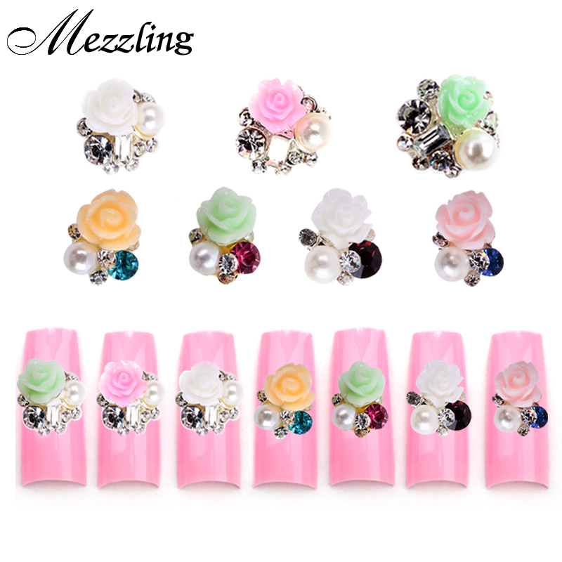 Nail Art Supplies Store: Rhinestone Alloy Flowers 3d Nail Art Decorations,7Designs