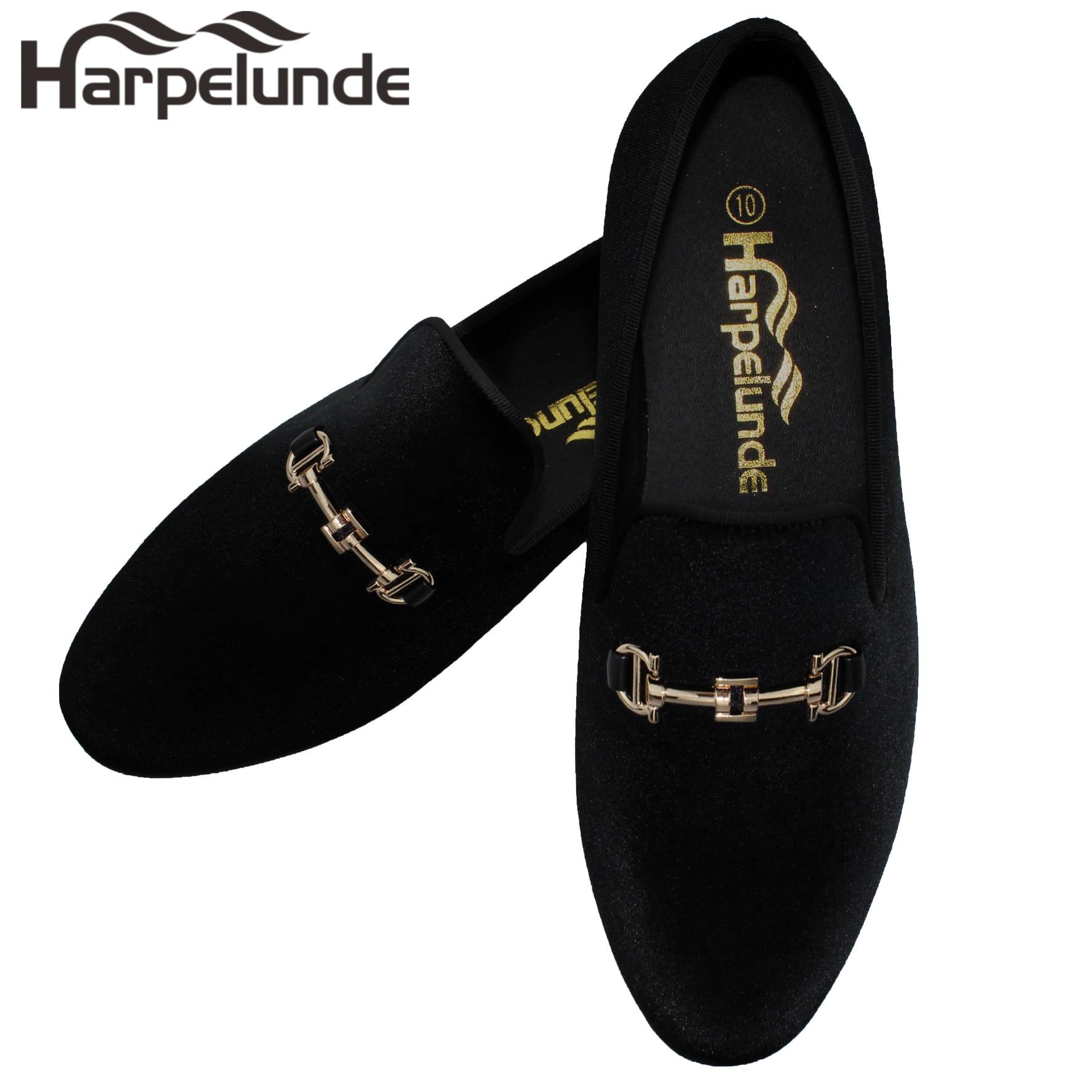 Harpelunde New Arrival Men Dress Shoes Black Velvet Loafers Gold Buckle Flats