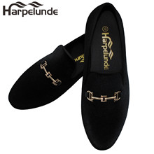 Harpelunde New Arrival Men Dress Shoes Black Velvet Loafers Gold Buckle Flats