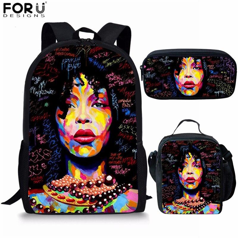FORUDESIGNS sac africain sac à dos d'école pour les filles Art noir filles imprimer enfants sacs d'école adolescent décontracté livre sacs Mochila