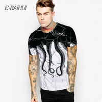 E BAIHUI Summer Fashion Mens Casual T Shirt Man 3D Octopus Print Short Sleeves T Shirts