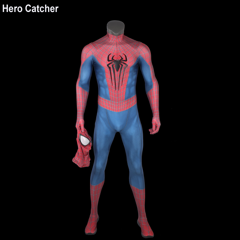 Hero Catcher4 Top Quality Amazing Spiderman Cosplay Costume With Embossed Chest Logo 3D Print Muscle Shade Spideman Suit