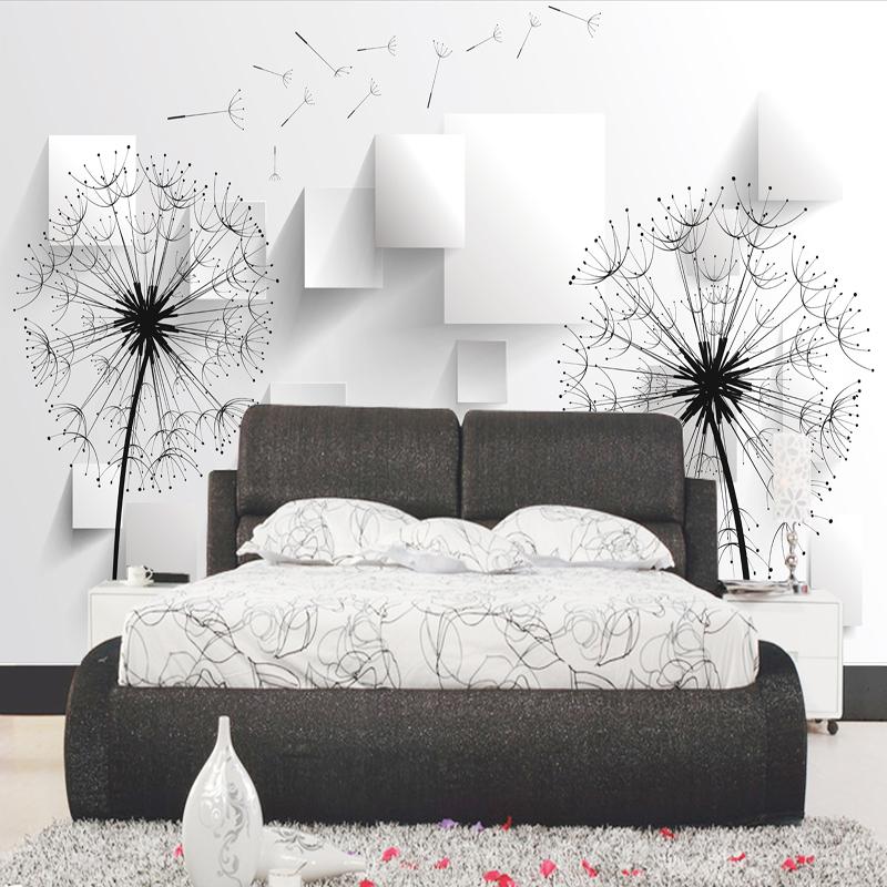 Fototapete 3D Löwenzahn Tapete Wandbild Schwarz Und Weiß Minimalistischen  Modernen Minimalistischen Wohnzimmer 3d Wallpaper