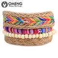 Nepal Colorful Beaded Multilayer Handmade Hemp Rope Woven Bracelets Hippy Boho Embroidery Cotton Friendship Bracelets OSL104