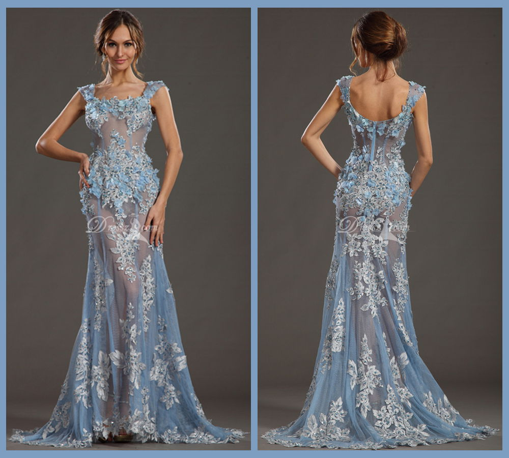 Top Quality Real Photos Square Beaded Y Lace See Through Prom Dresses Zuhair Murad Long Evening Gown With Flowers In From Weddings Events