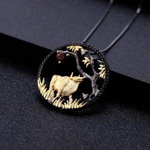 Image 2 - GEMS BALLET Natural granate rojo hecho a mano creativo colgante collar 925 plata esterlina buey paciente Zodiaco joyería para las mujeres