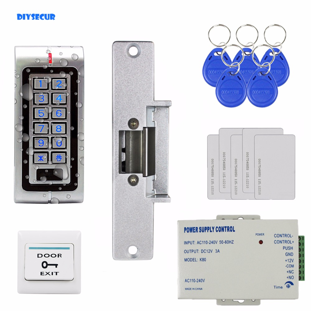 DIYSECUR 125KHz RFID Waterproof ID Card Reader Password Metal Keypad Door Access Control System Kit + Strike Lock W1 diysecur lcd 125khz rfid keypad password id card reader door access controller 10 free id key tag b100