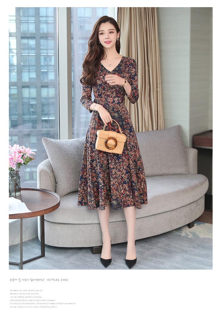 Autumn Winter New 3XL Plus Size Vintage Midi Dresses 2018 Women Elegant Bodycon Floral Dress Party Long Sleeve Runway Vestidos 35