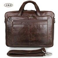 J.M.D Лидер продаж пояса из натуральной кожи коричневая сумка мужской моды Портфели Сумка для ноутбука Бизнес Дорожная 7320C