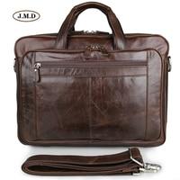J.M.D Hot Selling Genuine Leather Brown Handbag Male Fashion Briefcase Laptop Bag Business Travel Bag Messenger Bag 7320C