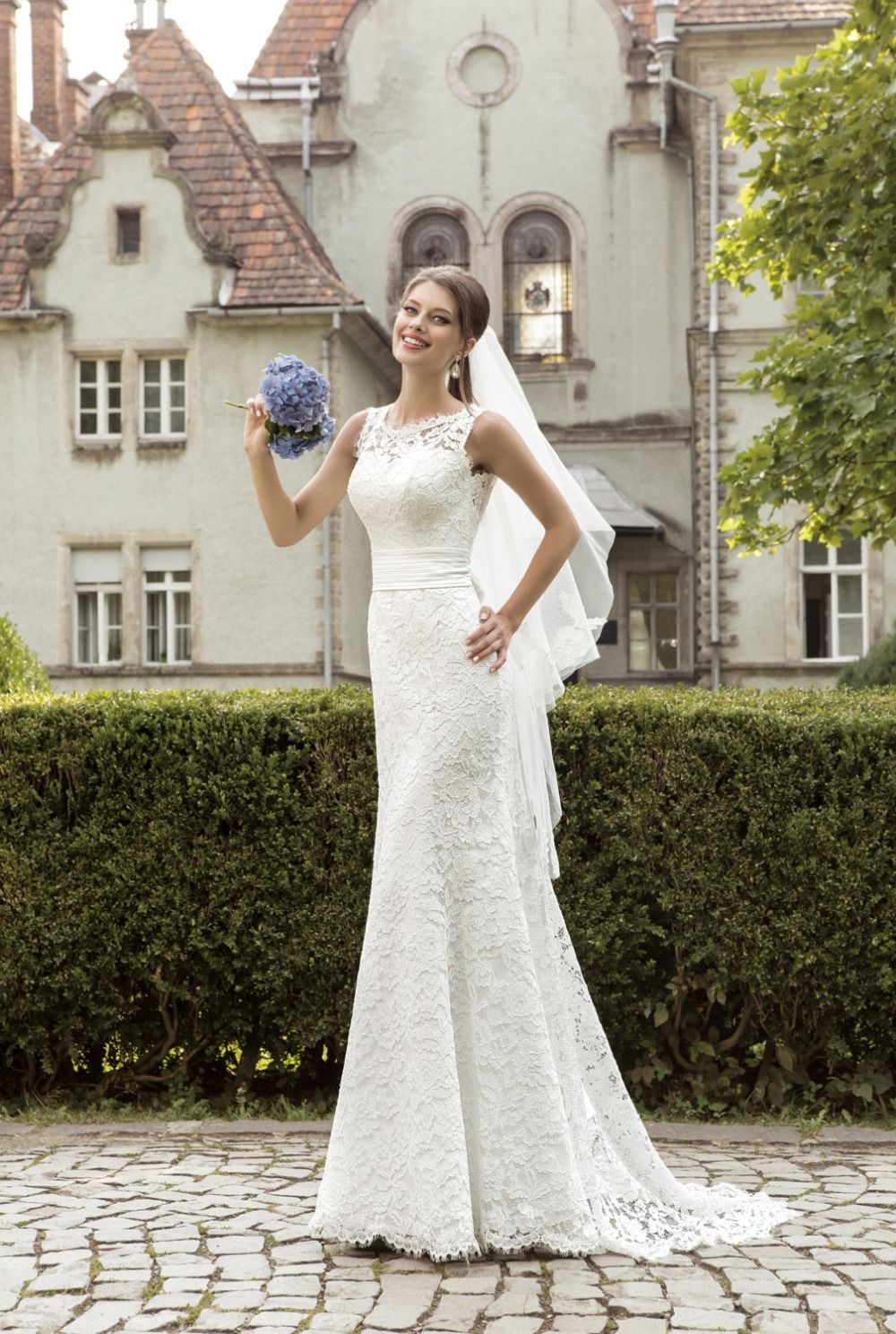 56486a91a Customized sleeveless Slim fitting lace Wedding Dresses wide straps low  back bridal dresses wedding gown vestidos novia ASWD09-in Wedding Dresses  from ...