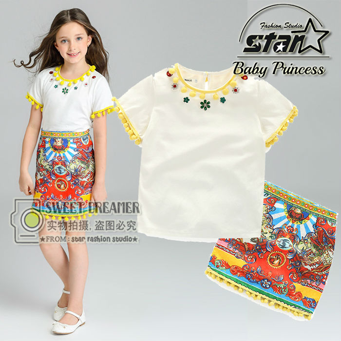 Girls Clothes Summer 2016 Brand Girls Clothing Sets Kids Clothes Daisy Floral Children Clothing Toddler Girl