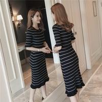 2017 Autumn Black And White Striped Knitted Medium Long Dress Women Petal Half Sleeve Slim Plus