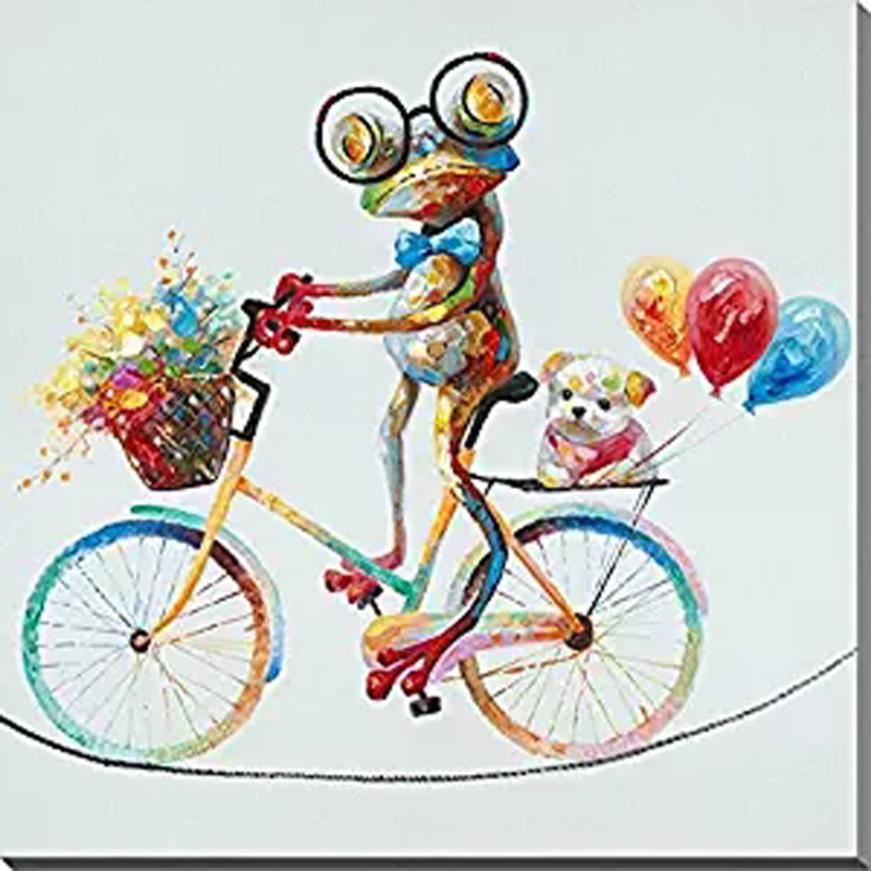 Hand painted Abstract Cartoon Oil Paintings on Canvas Home Decor Cute Frog Bicycle Animal Pictures Large Knife Wall Painting Art