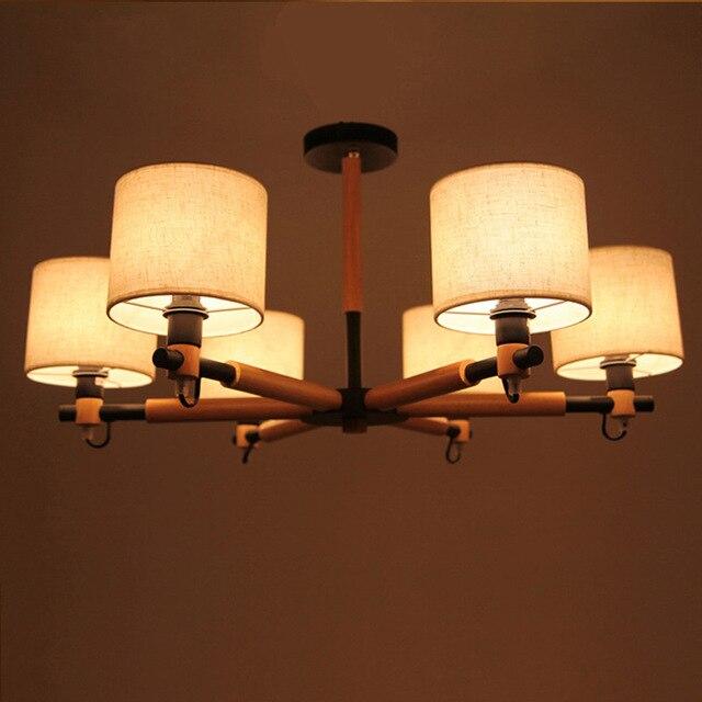 Schwarz Weiss Holz Halterung Stoff Lampenschirm Anhnger Beleuchtung Lampe Moderne Led Chinesischen Pendelleuchten Fr