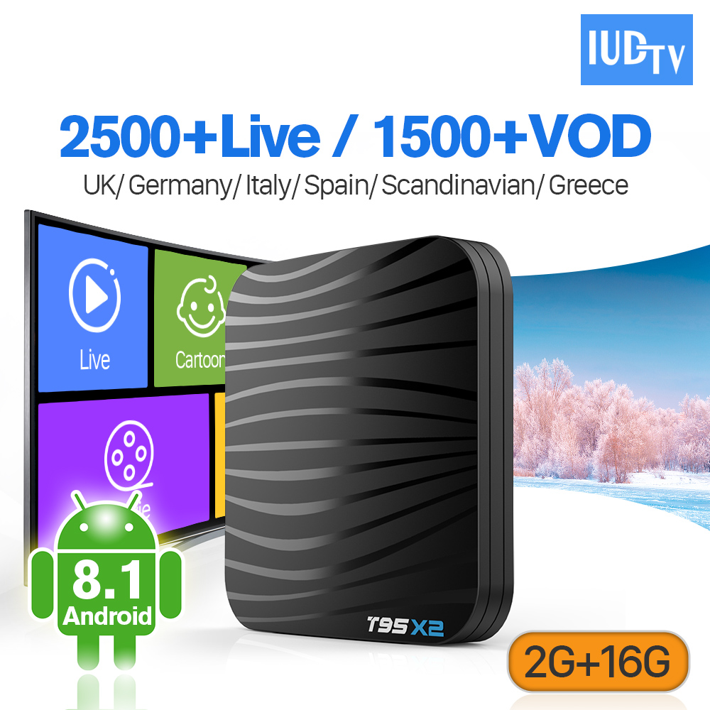 T95X2 IP TV Code espagne IPTV Europe allemagne royaume-uni italie Android 8.1 2 + 16G S905X2 4K H.265 IPTV abonnement IUDTV 1 an Android Box