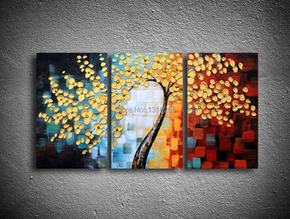 Canvas Art Wall Panel Decor Golden Happiness Make A Fortune Tree Artwork Picture Oil Painting Home Decoration 3pcs Set In Calligraphy From