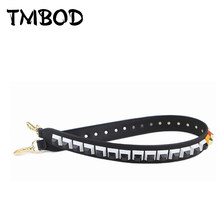 New 2019 Interchangeable PU Leather Straps Stud Belt Shoulder Strap Piano Design Rivets Trim Strap You Brand Belts Handbags j017(China)