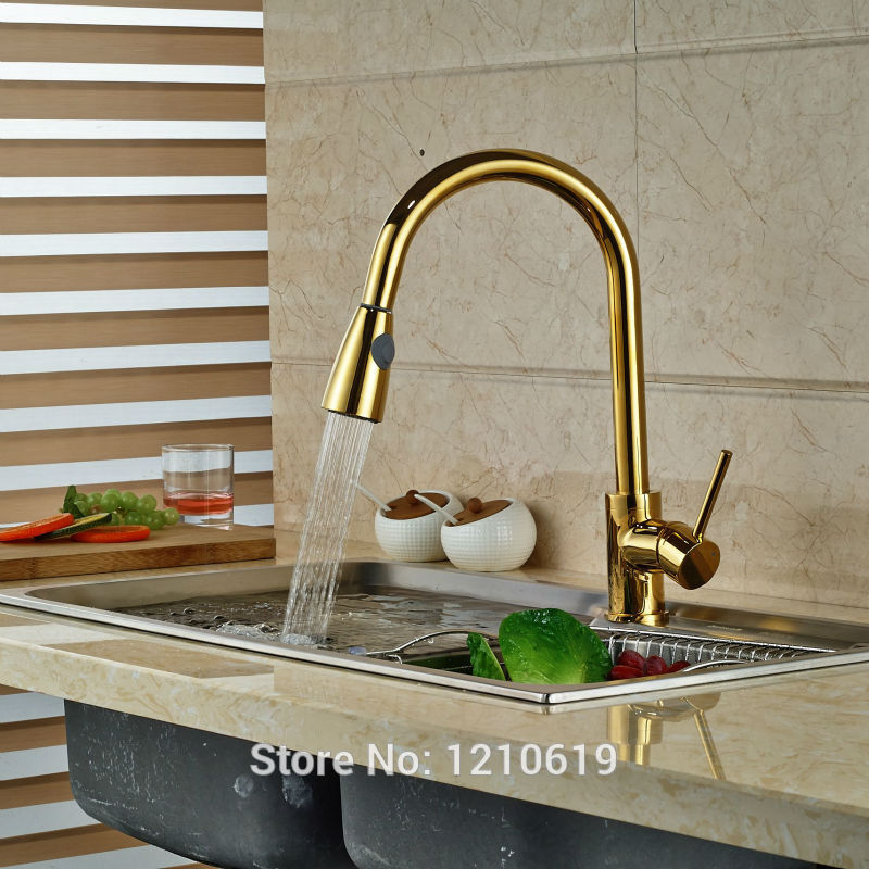 Newly Luxury Pull Down Kitchen Basin Faucet Deck Mounted Golden Polished Sink Faucet Mixer Tap One