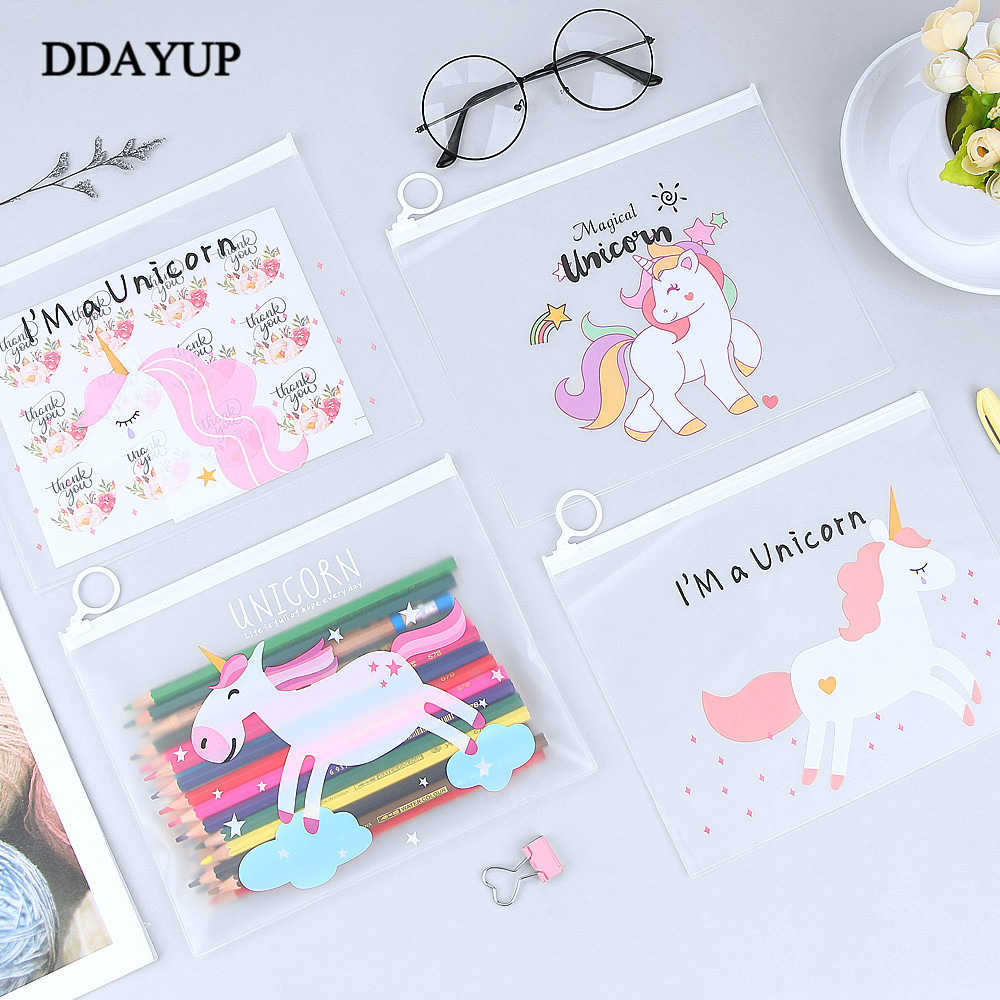 Cartoon Transparent Pencil Case Kawaii Unicorn Big Large Pencil Bag For Girls Kids Children Office School Supplie Stationery