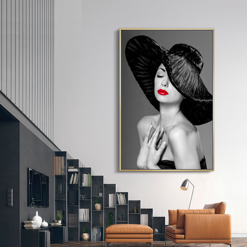 Sexy Woman With Red Lips Wall Art Canvas Print Abstract Poster Painting Decoration Picture Nordic Modern Living Room Decor