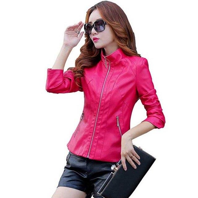 2016 новое прибытие весна осень плюс размер короткие кожаные куртки женские короткие тонкий Европейский стиль кожа моды пальто kp1235