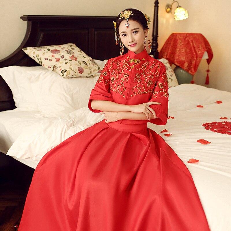 Rouge élégant Satin mariée robe de mariée orientale chinoise dame broderie fleur Qipao Sexy pleine longueur Cheongsam robes XS-XXL