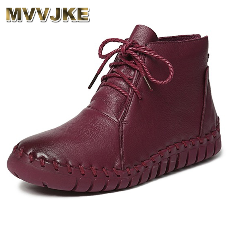 MVVJKE    Genuine Leather Women Boots 2018 Spring Autumn Fashion Pleated Ankle Boots Warm Soft Outdoor Casual Flat Shoes shoes
