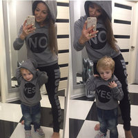 Mother and Son Clothes Fashion Letter Pattern Hooded Hoodies Family Sets Mom No and Kids Yes Parental Suit