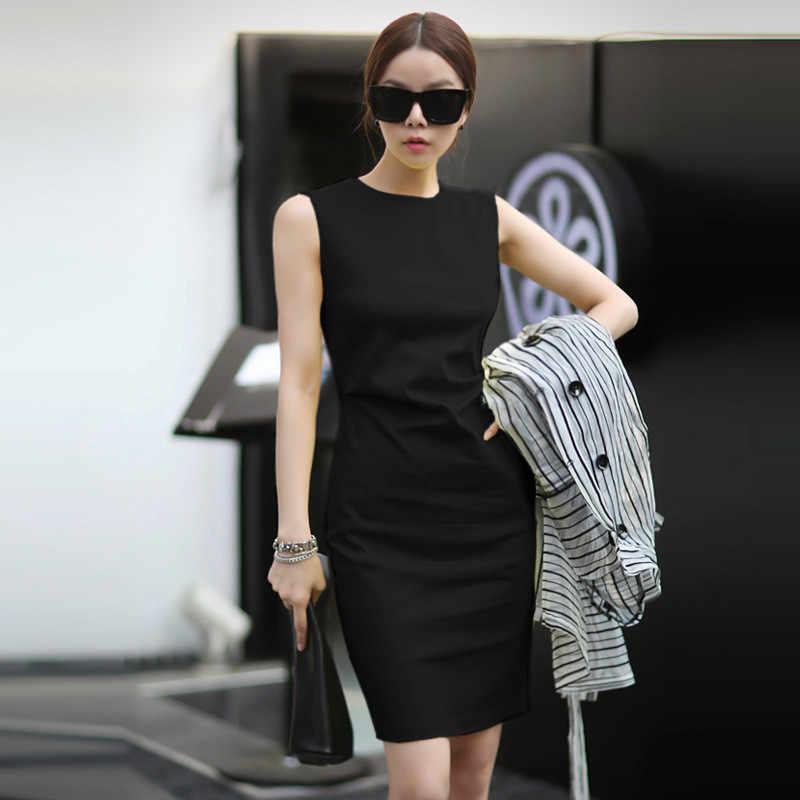 Verano OL moda Color sólido Oficina Sexy Mini lápiz vestido traje paquete cadera sin mangas Vestidos Mujer señora Vestidos TT2938